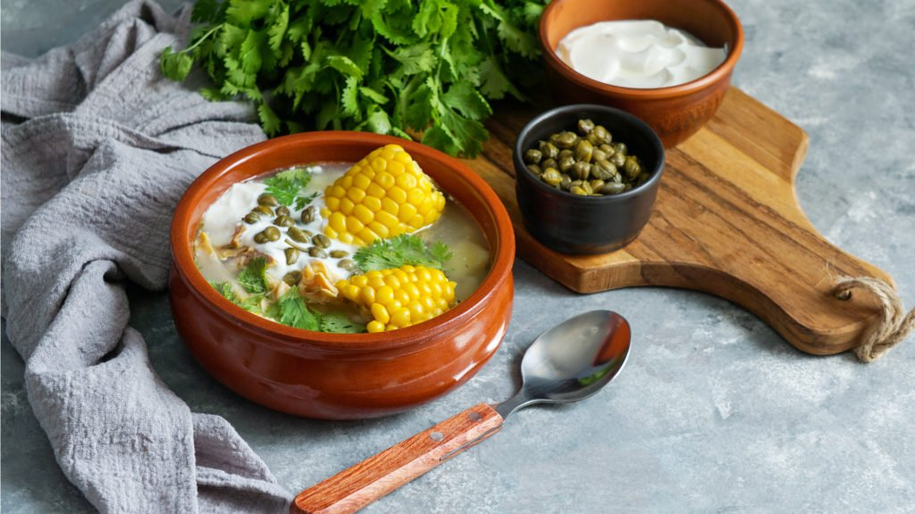 Ajiaco soup, food of Colombia