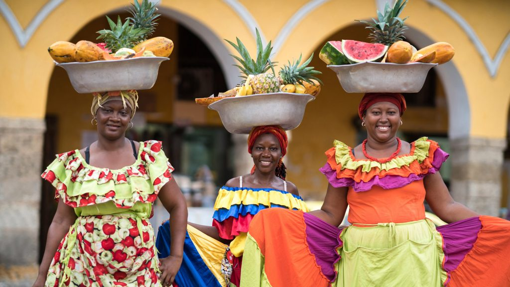 Women selling fruits in Cartagena, Colombia