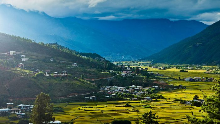 Paro Valley, Bhutan, at sundown