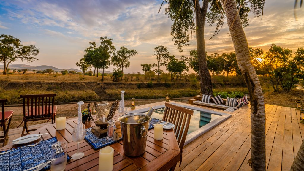 Evening by the pool at Sala's Camp, Kenya