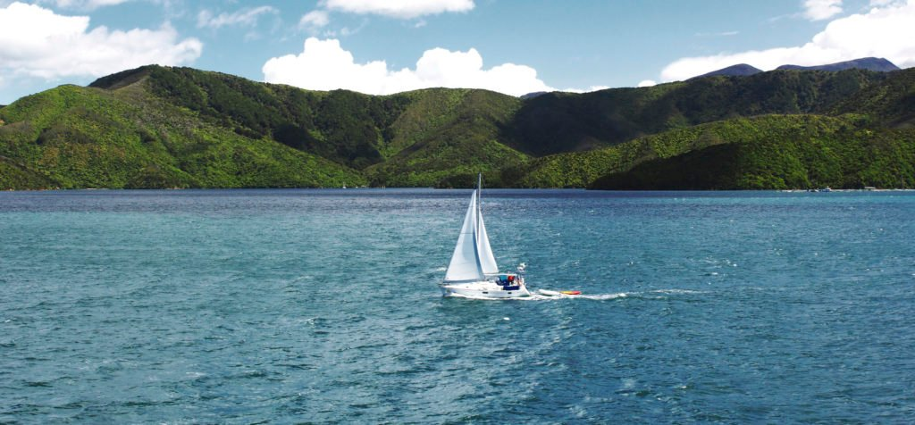 White Sailboat, Marlborough Sounds, New Zealand
