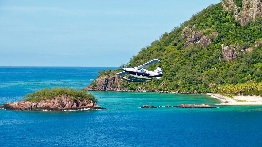 Seaplane in flight on Fiji