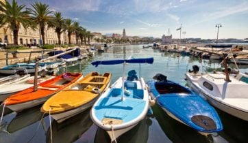 Colourful boats on display at the harbour of Split, Croatia.