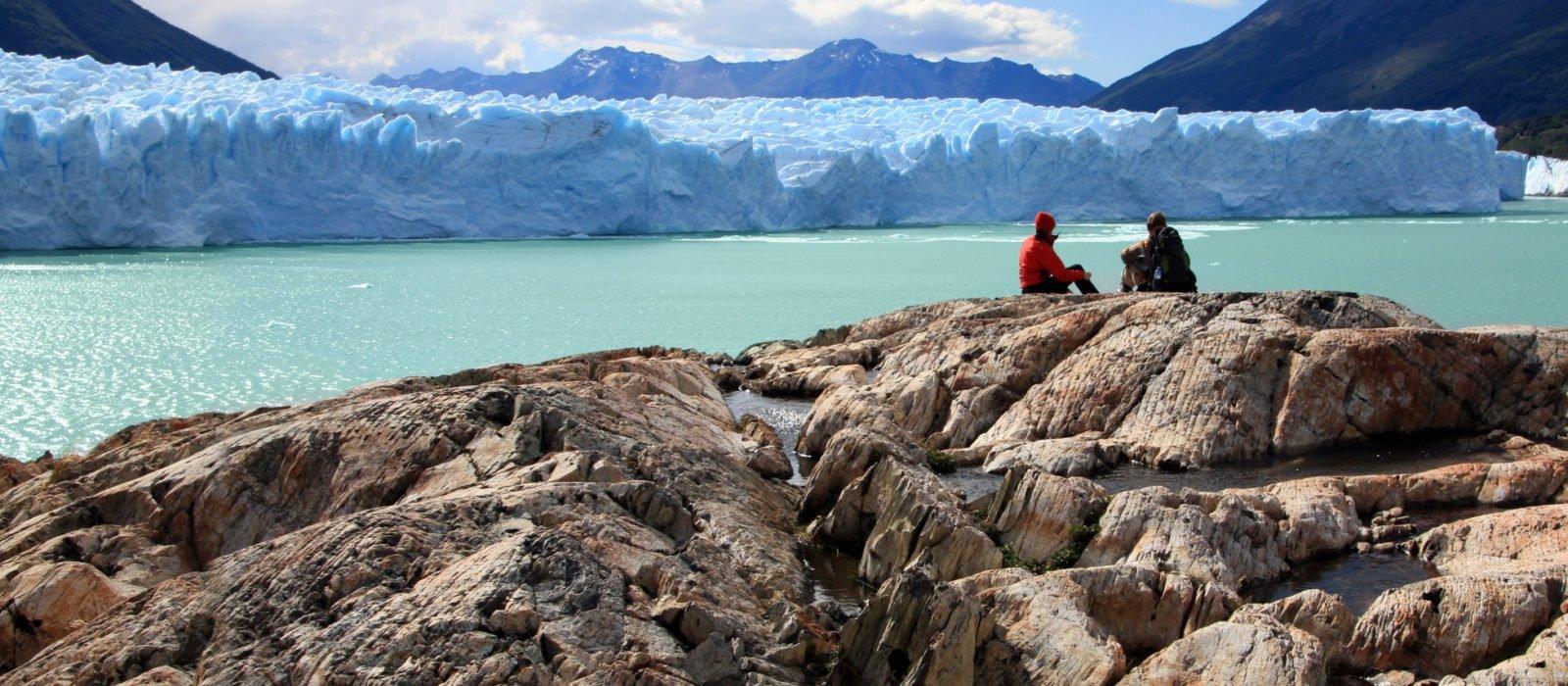 Hikers at glacier Patagonia