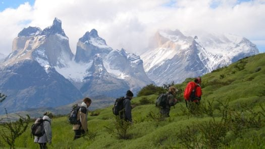 Trekking through the mountains, Patagonia Camp, Torres del Paine, Chile