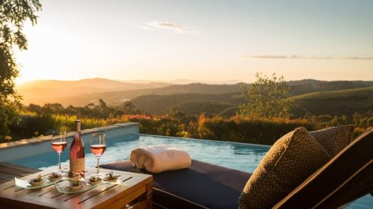 Delaire Graff Lodges and Spa, view from patio with pool, The Winelands, South Africa