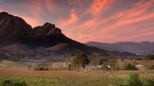 Sunset view, Delaire Graff Lodges and Spa, The Winelands, South Africa