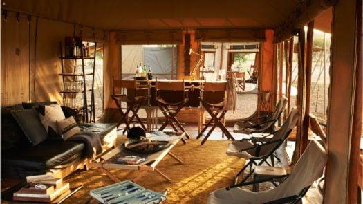 Sitting room, Singita Explore Tented Camp, Singita Grumeti, Tanzania