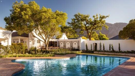 Leeu House pool, Franschhoek, the Winelands, South Africa