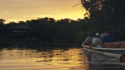 Boat on the river, Sunset, La Selva Lodge, The Amazon, Ecuador