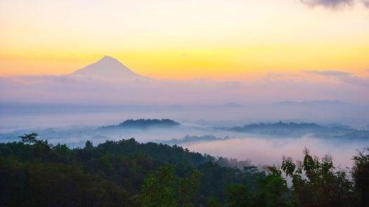 Sunrise at Mount Merapi, Java, Indonesia