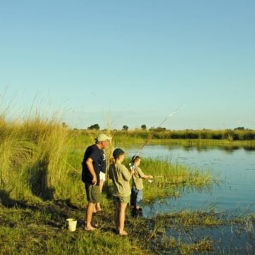 Guide and family fishing safari