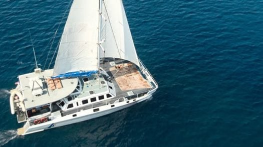 Aerial view of the Aristocat Yacht, Benoa Harbour, Bali