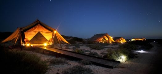 tents at night sal salis north west australia