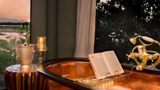 Bath with book holder, Zarafa, Linyanti, Botswana