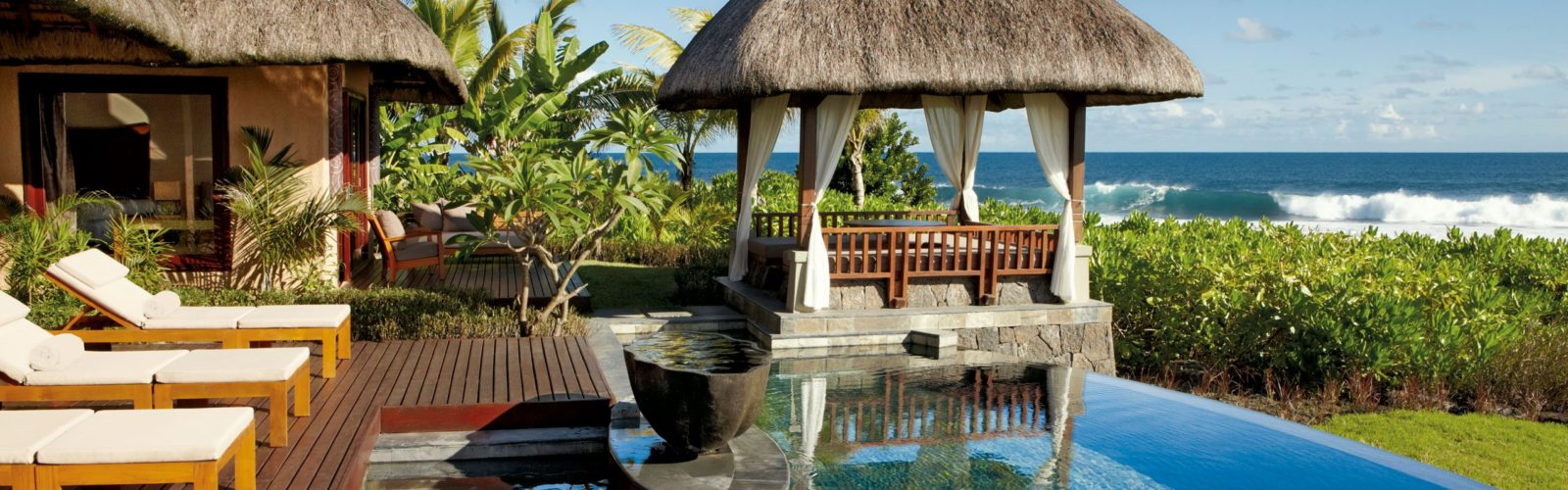 The pool and terrace of a two-bedroom villa at the Shanti Maurice, Mauritius, Africa