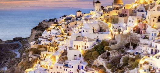 The beautiful lights of Santorini at dusk.