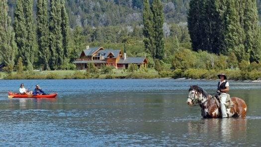 Exterior view of the lake and house at Estancia Peuma Hue, The Lake District, Argentina