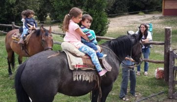 Children on a horse, Estancia Peuma Hue, the Lake District, Argentina