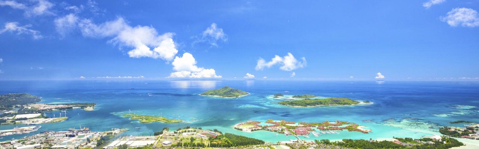 Aerial view of Mahe coastline, Seychelles