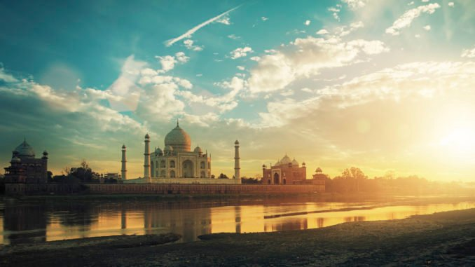 Taj Mahal, Agra, India in the lights of the sunset.
