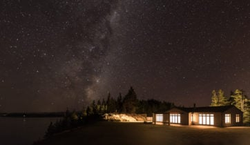Mt Cook Lakeside Retreat under the starry night sky, New Zealand