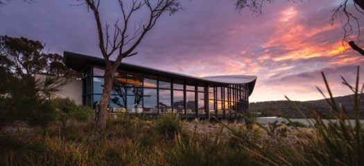 Exterior view of Saffire Freycinet, Tasmania, Australia at sunrise