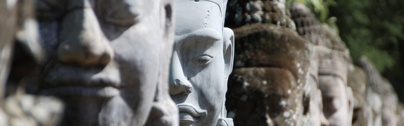 Giant sculpted heads, Angkor, Cambodia