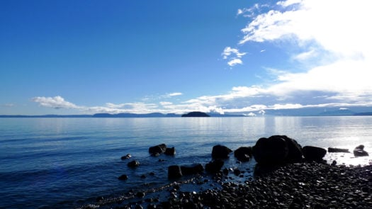 The shores of Lake Taupo, New Zealand