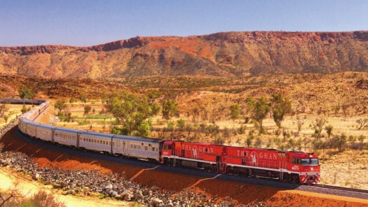 The Ghan train and landscape