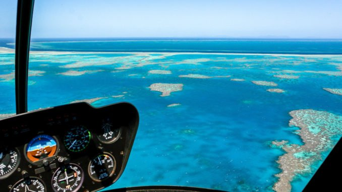 Helicopter over the Great Barrier Reef.