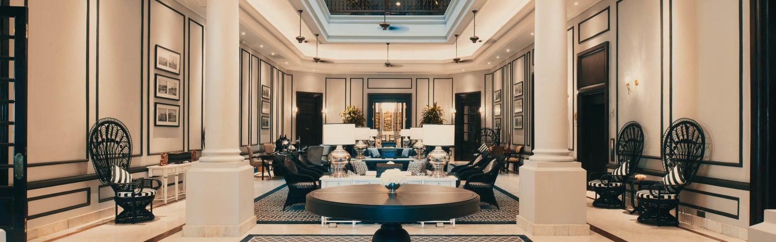 Lobby at the Strand Hotel in Yangon, Myanmar