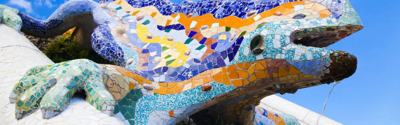 Parc Guell Lizard Fountain Gaudi Barcelona, Spain