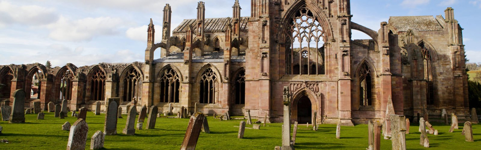 Melrose Abbey ruins, Gothic architecture, Scotland