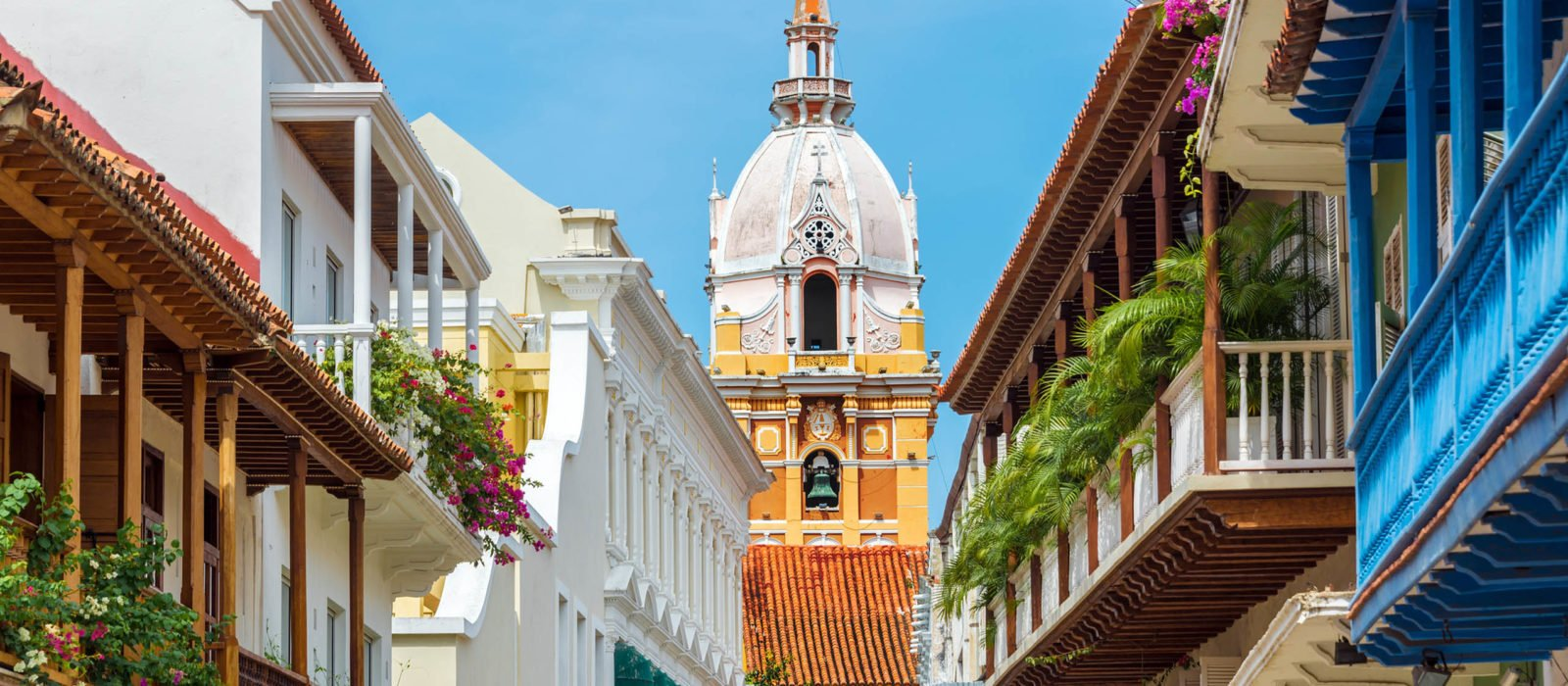 Cathedral and Balconies in Cartagena, Colombia