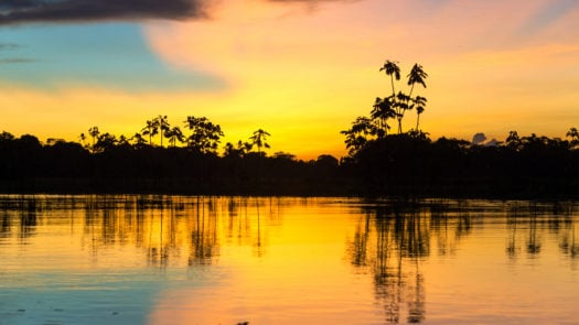 Sunset over the Amazon River, Brazil