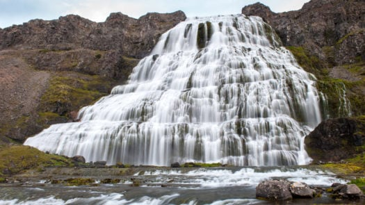 Cascade waterfall Dynjandi, long exposure, Iceland