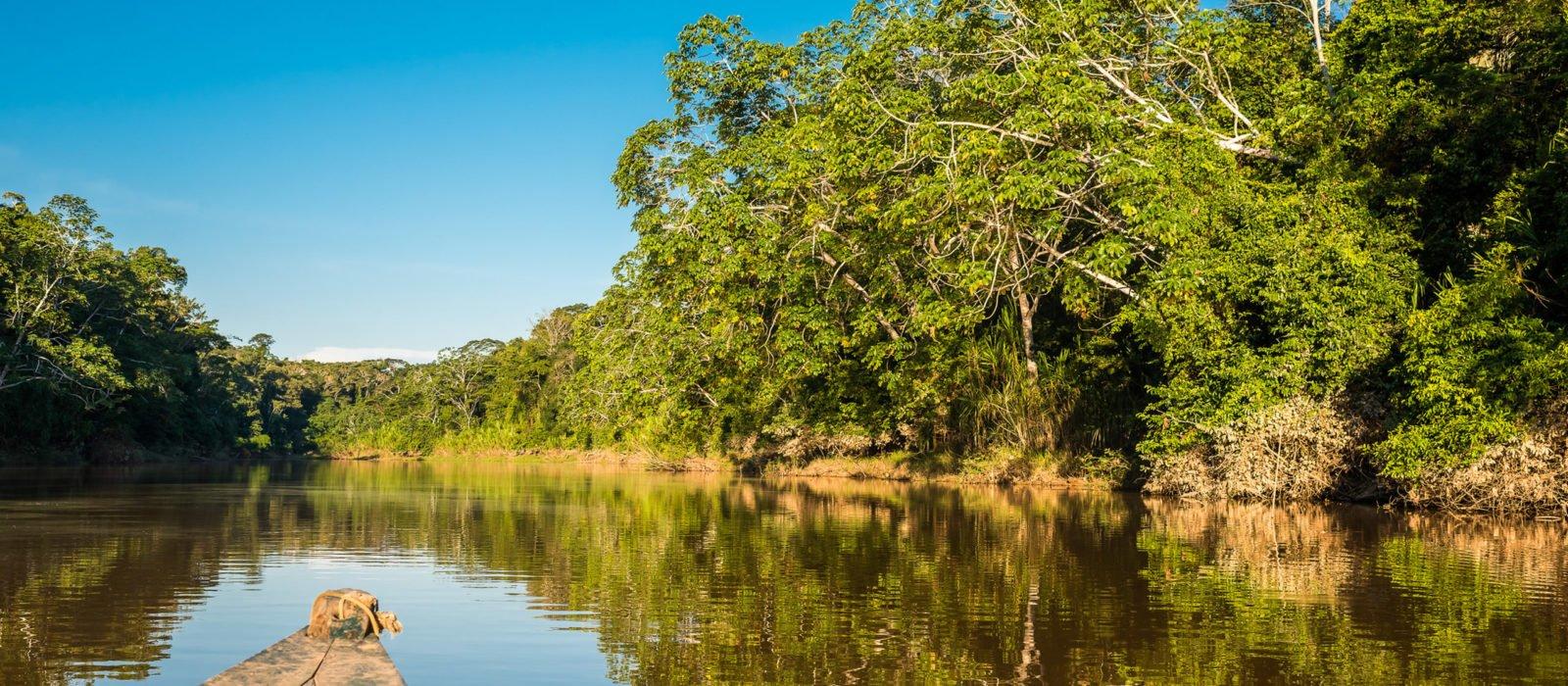 boat in Amazon jungle river at Madre de Dios peru