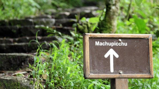 Sign on the Inca Trail to Machu Picchu