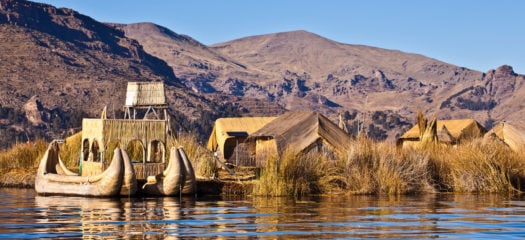 Floating island on Lake Titicaca, Peru