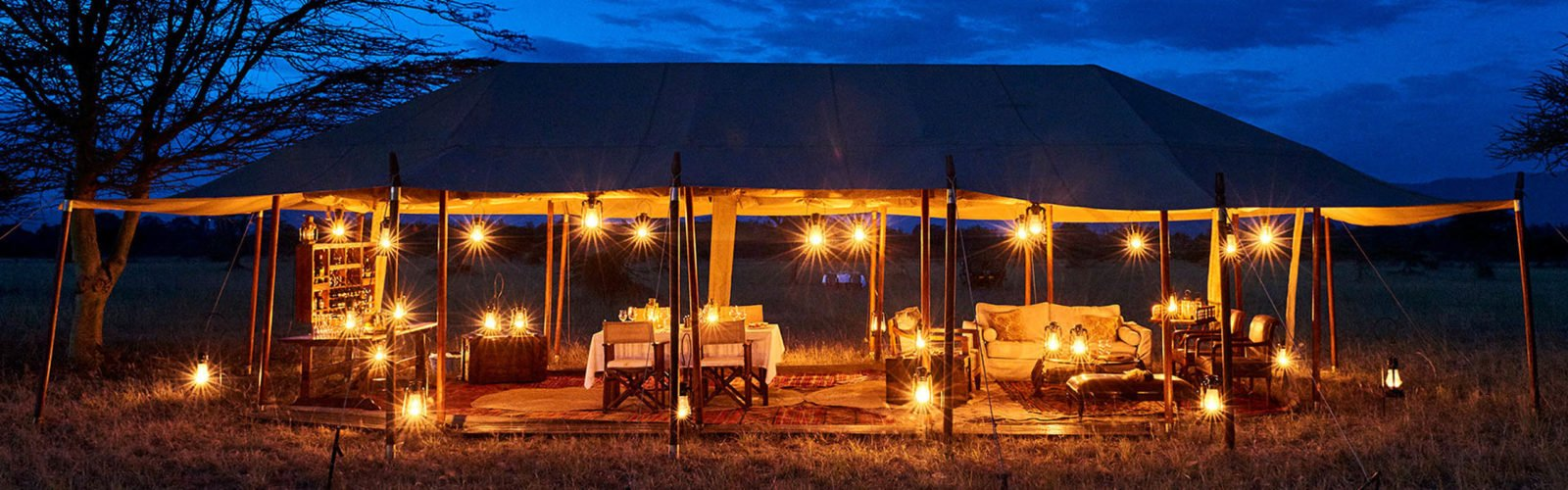 Legendary Serengeti Camp, Tanzania, lit up at night
