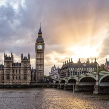 Big Ben and Parliament from across Thames River at sunset
