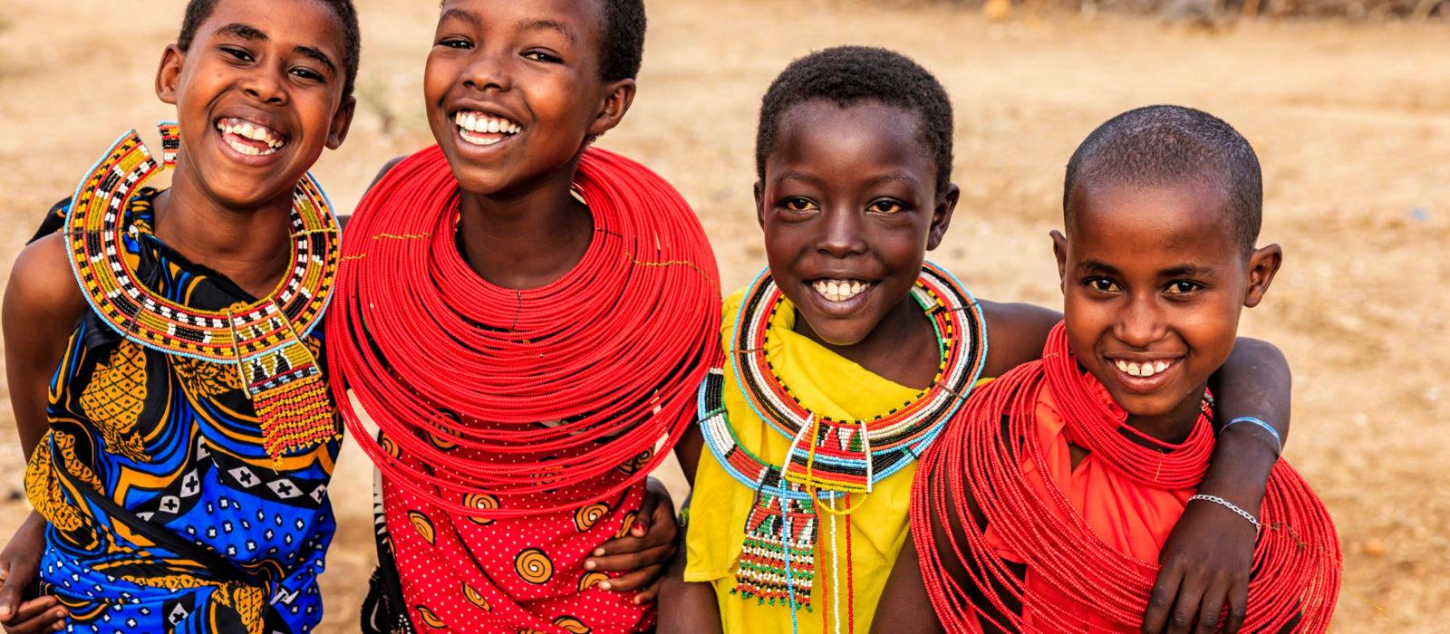 Group of happy African girls from Samburu tribe, Kenya, Africa