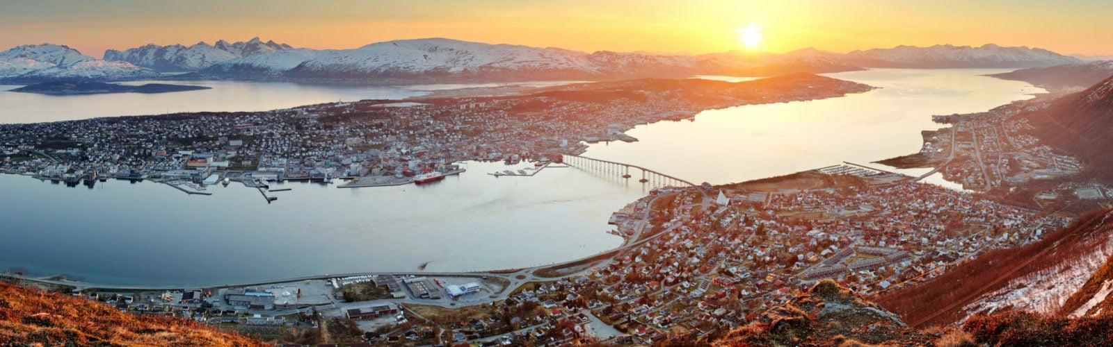 Norway city panorama - Tromso at sunset