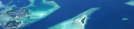 Aerial view on tropical islands of maldives