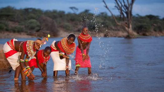 Samburu people in the water, Kenya