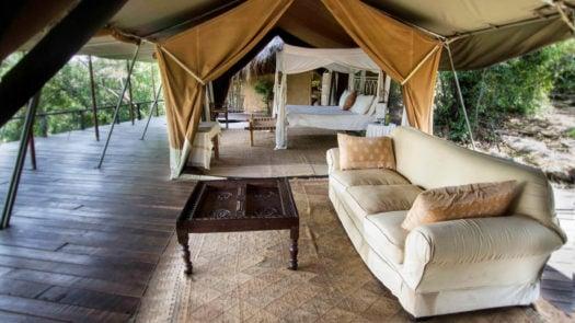Lounge interior, Serian Camp The Nest, Mara Conservancies, Kenya