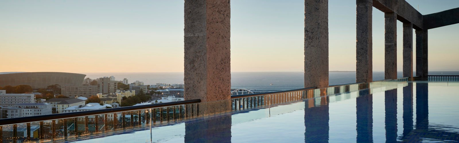 The pool and view at The Silo, Cape Town, South Africa