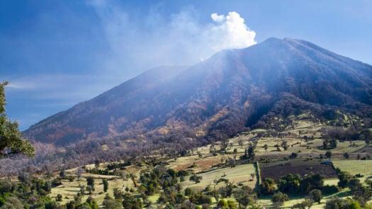 Turrialba Volcano with smoke