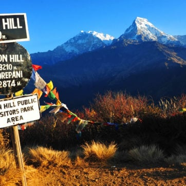 Beautiful view of Annapurna South from Poon Hill, in morning